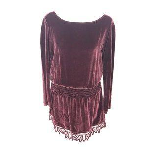 Dresses & Skirts - Burgundy Velvet Mini Dress